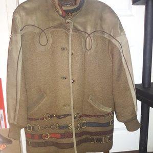 Torras Vintage Suede & Wool Jacket Cardigan